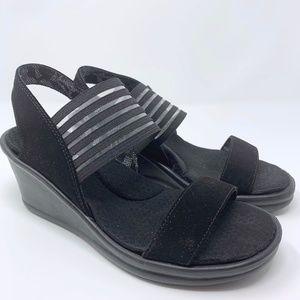 Skechers Rumblers Black Memory Foam Wedge Sandals